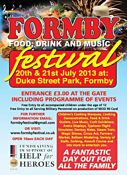 Formby's food, drink and music festival will take place in Dukes Street park 20th to 21st July 2013